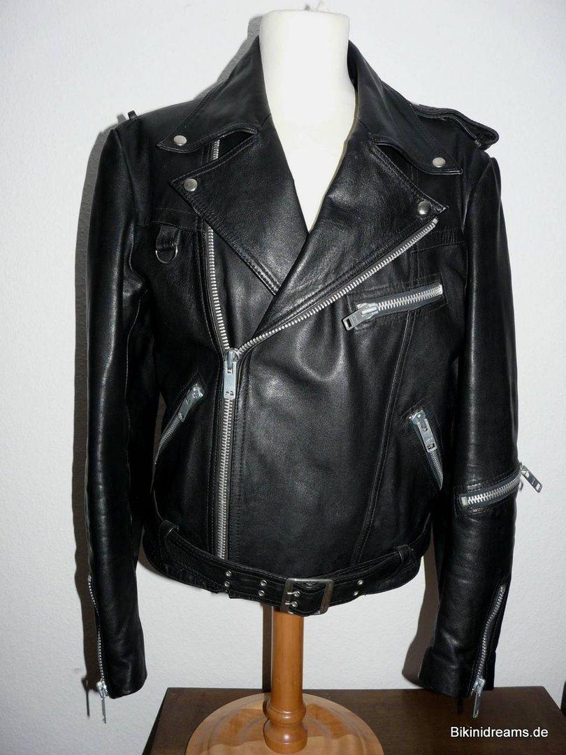 80er Biker Vintage 52 Größe Rockabilly Rockabella Lederjacke 80s I29EDH